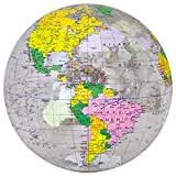 Jet Creations 16 inch Inflatable Globe of The World, Political Map and Boundaries, Imprinted Thousands Country and City Names, Up-to-Date Cartography, Great Toys for 6,7,8+ Years Old Kids Boys Girls