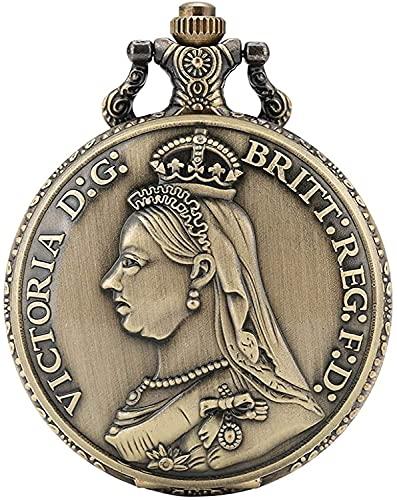 HGDH Taschenuhrenkette Einzigartige Königin Victoria des Vereinigten Königreichs Muster Taschenuhr für Männer Concise große weiße Zifferblatt Quarz Taschenuhren für Frauen Für Männer Frauen Geschenk