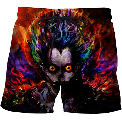 Men's Swim Trunks 3D Casual Fashion Mens Quick Dry Swim Trunks with Pockets 3D Creative Printed Grim Reaper Ryuuku Pattern Summer Comfy Personality Beach Board Shorts Drawstring Quick Dry Beach Shorts