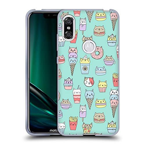 Officiële Andrea Lauren Design Kattenvoer Voedsel Patroon Soft Gel Case Compatibel voor Motorola One (P30 Play)