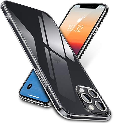 """vau Clear-Hülle kompatibel mit iPhone 12 Pro Max (6.7"""") - Hülle aus Panzerglas (durchsichtig hart Anti-gelb) + Silikon (transparent weich) Handyhülle"""