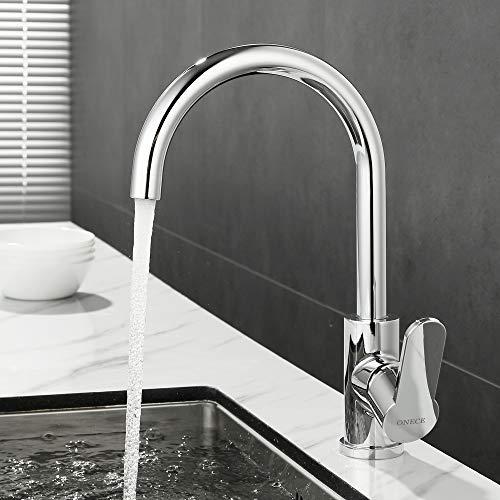 ONECE Wasserhahn für Küche - Spültischarmaturen mit 360° schwenkbar Küchenarmatur Einhebelmischer Spüle Armatur Mischbatterie, Verchromte Edelstahl Spültischbatterie