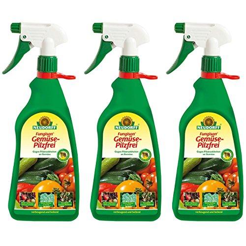 Gardopia Sparpaket: 3 x 1 Liter Neudorff Fungisan Gemüse-Pilzfrei AF Anwendungsfertig Fungizid Zeckenzange mit Lupe