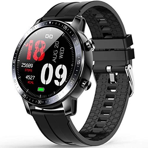 Smartwatch, Orologio Uomo Smartwatch IP68 Fitness Tracker, Monitor della Pressione Sanguigna, Misuratore di Ossigeno nel sangue, Cardiofrequenzimetro Smart Watch compatibile con Android iOS - Nero