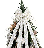 BUVANE Christmas Tree Topper,48x13 Inches Large Toppers Bow with Snowflake Pattern for Christmas Decoration(White and Gold)