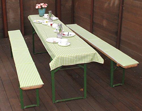 beo Festzeltauflagen Set inklusiv Tischdecke kariert Bankauflage, circa 220 x 25 x 2,5 cm und 240 x 100 cm, grün/weiß/mehrfarbig