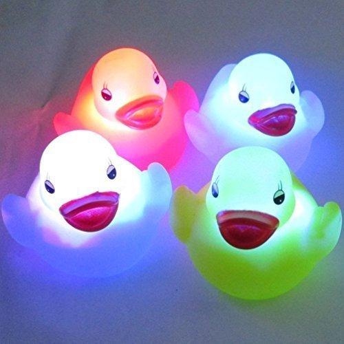 Dasuke 4 Stück Wasserdichte Farbwechsel LED Ente Unisex Baby Kinder Bad Stimmungslampe Nachtlicht
