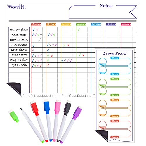Magnetic Dry Erase Calendar Chore Chart Weekly Fridge Calendar Whiteboard for Multiple Kids and Adults:Magnetic White Board Reward & Chores Chart 6 Colored Markers with Eraser Caps Homeschool Supplies