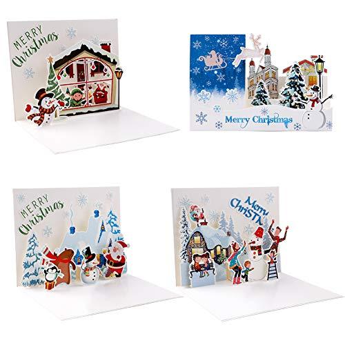 4 Pezzi Cartoline di Natale 3D Biglietti di Auguri di Natale 3D Pop Up Biglietti di Auguri con...