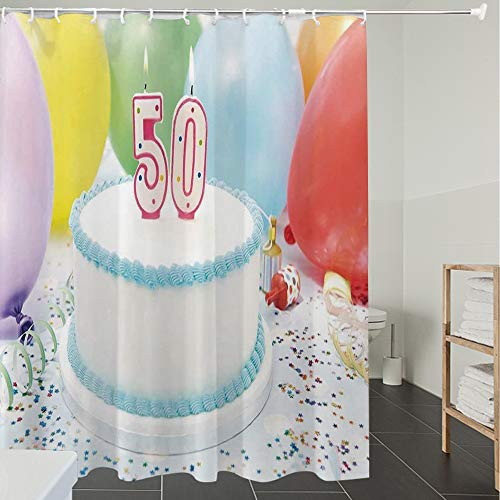 Derun Duschvorhänge, Textil Bad Vorhang aus Polyester, Anti-Schimmel, 50. Geburtstag Dekorationen, weiße süße Torte auf Tisch mit bunten Luftballons Ko,Blickdicht, Wasserdicht, Waschbar, 180X200cm