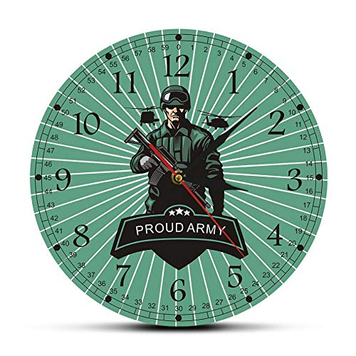 MXHJD-Soldados con Rifles decorando el Reloj de Pared Orgullosos del ejército listos para la Guerra decoración de la Pared de Armas Militares-No_Frame