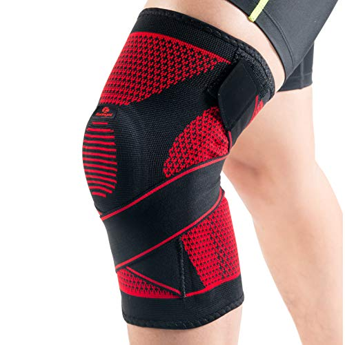 Kuangmi atmungsaktive Kniebandage mit Silikonring, Stabilisierung für anspruchsvolle Sportarten, verstellbare Bandage, (XL)
