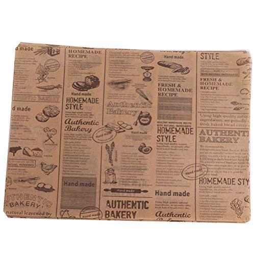 BraveWind Lebensmittel-Geschenkpapier für Brot, Sandwich, Burger, öldicht, für Restaurants, Kirchen, Concession Ständer Stil 3