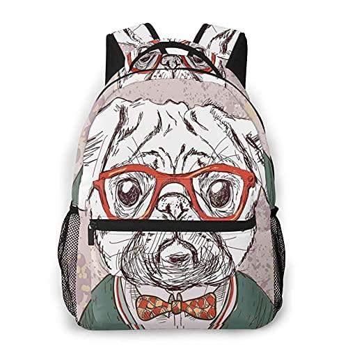 DJNGN Old Hipster Pug Dog con occhiali rossi stampa zaino casual, zainetto classico da viaggio con tasche laterali bottiglia Bottle