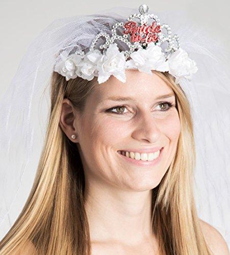 Party-Teufel® Diadem blinkt mit Brautschleier und weissen Röschen Aufschrift Bride-to-Be Accessoire Junggesellenabschied