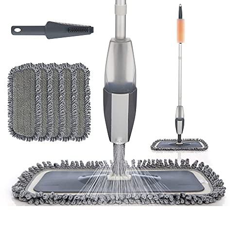 TEETLE Mopa Rocíe los trapeadores con 4 PCS Almohadillas Reutilizables de Microfibra para Pisos Cocina Limpia Azulejo para el hogar Laminado de Madera de cerámica 360 Limpieza de la Limpieza Mop 360°