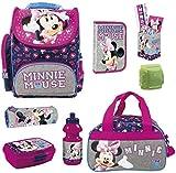 Familando Minnie Maus Schulranzen-Set 8-TLG. Dose /Flasche Federmappe Sporttasche und Regenschutz rosa blau grau Mouse