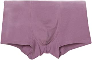 neveraway Men Cozy Breathable Middle Waist Basic Cotton Pure Color Boxer Brief