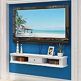 MJY Tv-Schrank-Wand-Hintergrund Storage Rack Open Frame Und Fach Dvd Satellitenfernsehen Box Kabelbox Weiß Schwimm Rack-Wandhalterung Regal gfdffdscvsv MJY / 120cm