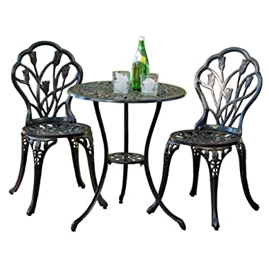 Best-selling Nassau Cast Aluminum Outdoor Bistro Furniture Set, Brown
