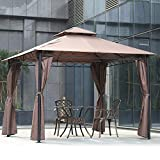Gazebo Canopy Tent Party Tent 10' X 10' Outdoor Heavy Duty Shelter Picnic BBQ Gazebo with Durable Steel Frame & Vented Top for Backyard, Patio, Garden, Event - Brown