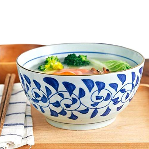 MAHFEI Estilo Japones Cerámico Cuenco De Ramen Cuenco para Sopa Tazón De Sopa Ensaladera Cuencos De Pasta Alta Capacidad Apto para Horno Microondas (Color : White-C, Size : 15.5x8cm)