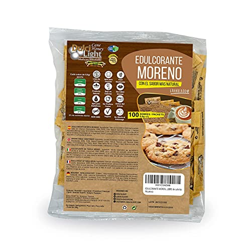 EDULCORANTE MORENO DULCILIGHT 100 sobres, 100% Natural granulado de caña con fibra Vegetal| 1gr = 10gr de azúcar| EL Sabor, la textura y el Sonajero del azúcar Moreno LIBRE de calorías