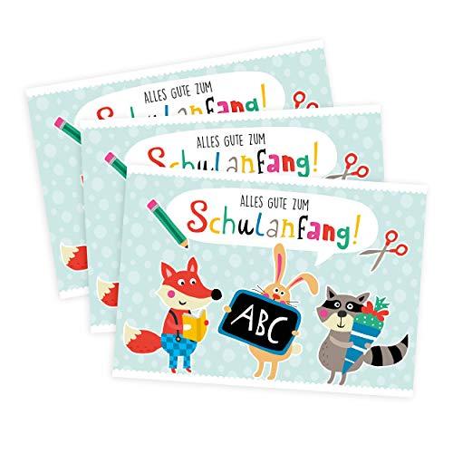 3er Set Einschulungskarten für Junge oder Mädchen mit Tieren, Glückwunschkarten zur Einschulung, Karte Schulbeginn, Geschenkidee, Geschenke zum Schulanfang, Schuleinführung