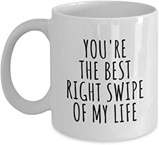 Swiped Right Mug Funny Gift For Boyfriend Girlfriend Bf Gf Online Dating App Present Idea Anniversary Date Cute Romantic Quote Saying Coffee Tea Cup 11 Oz