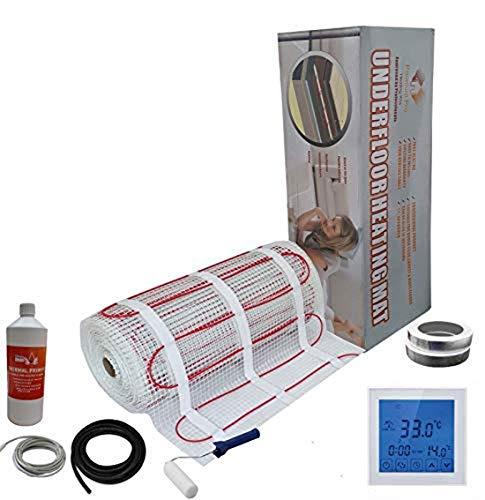 Nassboards Premium Pro - Kit Élite de Calefacción Eléctrica Por Suelo Radiante de 200 W - 2.5m² - Termostato Blanco Con Pantalla Táctil