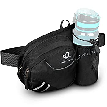 WATERFLY Hiking Waist Bag Fanny Pack with Water Bottle Holder for Men Women Running & Dog Walking Fit All Phones  Bottle Not Included