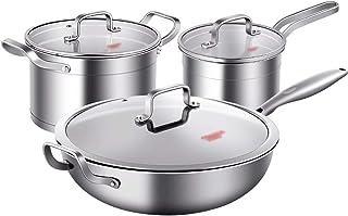 XXDTG Batterie de cuisine antiadhésive avec couvercles et wok, coffre à ustensiles en métal, prêt for l'induction (Size : ...