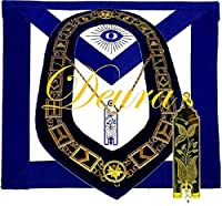 DEURA Masonic Master Mason ジュニア Warden ゴールドメッキ ジュエル + 襟と刺繍エプロンセット