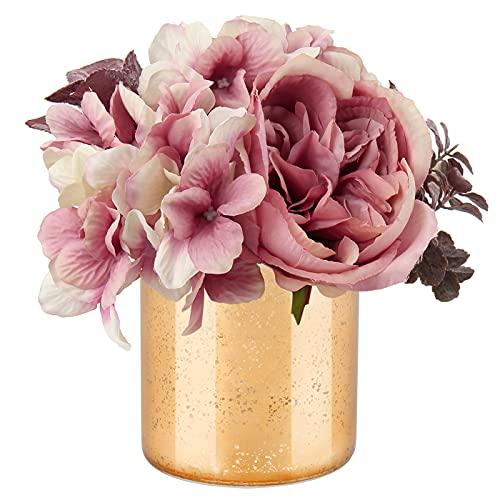 Flores artificiales de seda hortensia, peonía, flores falsas en florero de cristal...