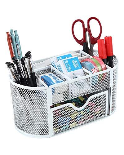 Schreibtisch-Aufbewahrungskorb, Drahtgeflecht, für das Büro, multifunktional, Aufbewahrungslösung, Stifte-/Bleistift-Halter weiß
