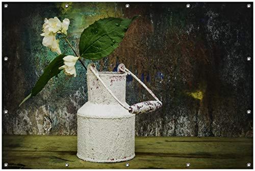 Wallario Garten-Poster Outdoor-Poster, Jasmin Blumen in Einer Alten Milchkanne in Premiumqualität, für den Außeneinsatz geeignet