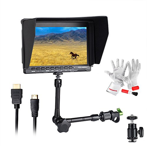Feelworld FW759 7 Inch On-Camera Field Video Monitor with 11' Magic Adjustable Arm- 1280x800 High Resolution, Wide View Angle IPS Panel, Enhanced 400cd/m2 Backlight and 800:1 Color Contrast Ratio