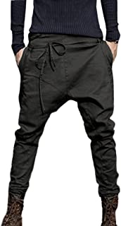 Creazrise Men Drop Crotch Funnel Pockets Drawstring Harem Pants Casual Drawstring Sweatpants