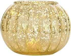 Luna Bazaar Large Vintage Mercury Glass Vase or Candle Holder (5-Inch, Autumn Design, Gold) - Decorative Flower Vase - For Parties, Weddings, and Homes
