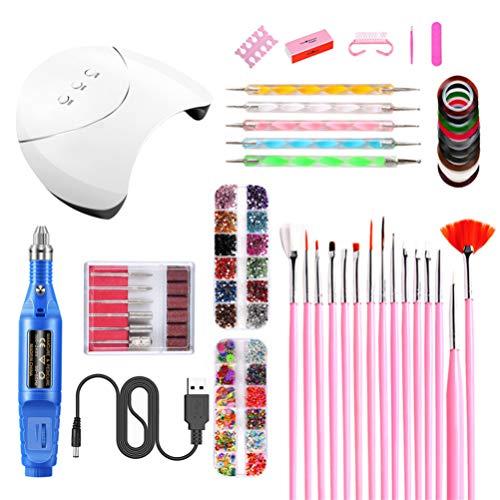 Beaupretty 1 Set UV LED-Nagellamp Nail Art-Kits Voor Beginners Nagelslijpmachine Set Professionele Nagelgereedschapset Tool Voor Salon Thuis (Wit)
