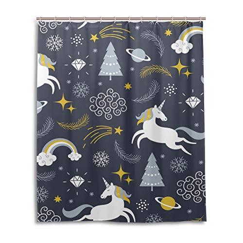 JSTEL Decor Rideau de Douche Motif Licornes Impression 100% Polyester Tissu 152 x 183 cm