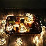 20 Led Lichterkette,Halloween outdoor lichterkette batterie,Hohler Totenkopf Holiday 9,8 Zoll Gartenleuchten Kupferdraht-Beleuchtung für Halloween Party (Batterien nicht im Lieferumfang enthalten)