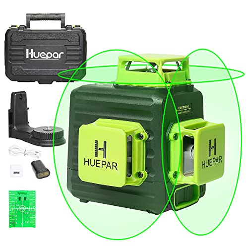 Huepar 3D Cross Line Self-leveling Laser Level 3 x 360 Green Beam Three-Plane Leveling and Alignment Laser Tool, Li-ion Battery with Type-C Charging Port & Hard Carry Case Included - B03CG Pro