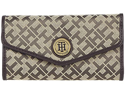 Tommy Hilfiger Large-Continental Envelope Wallet-Geometric Jacquard Tan/Dark Chocolate/Chocolate One Size