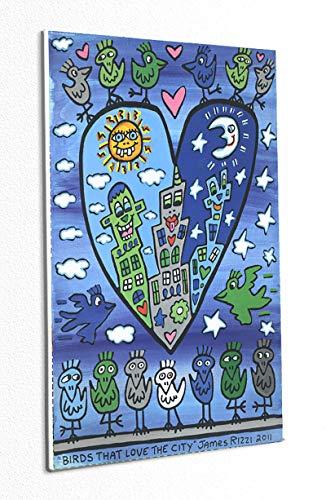 Kunstdruck Birds That Love The City Blau Vögel Poster Plakat Rizzi Platte 110