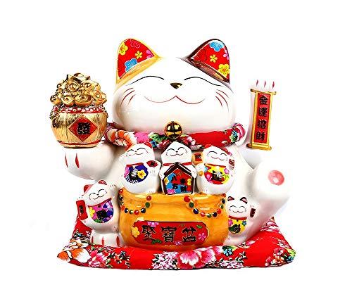 Maneki Neko Porcelana Gato de la Suerte Afortunado Gato agitando el Brazo Waving Arm Lucky bendición,Blanco L34*W23*H29cm, 2