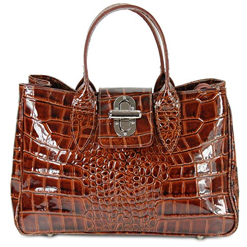 Belli Echt Leder Handtasche Damen Ledertasche Umhängetasche Henkeltasche in cognac braun lack Kroko Prägung - 36x25x18 cm (B x H x T)