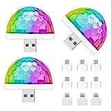 3 Piezas Mini Luz de Discoteca USB, Mini Luz de Bola de Discoteca USB, Luces de Fiesta Activadas por Sonido, para Fiestas, Club, Karaoke, Boda, Bar, Concierto