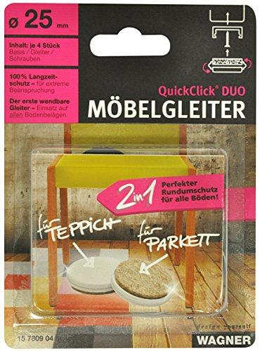 Wagner 15955100 QuickClick/® Lot de 8 Patins de Rechange pour Chaise 32 x 15 mm