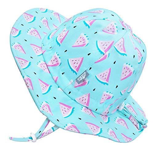 Jan & Jul Baby Strand Floppy Hut Mädchen 50+ USF Sonnenschutz (M: 6-24 Monate, Wassermelone)